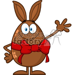 10948 Royalty Free RF Clipart Smiling Chocolate Egg Cartoon Mascot Character With A Rabbit Ears And Red Ribbon Waving For Greeting Vector Illustration clipart. Royalty-free image # 403419