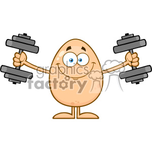 10934 Royalty Free RF Clipart Smiling Egg Cartoon Mascot Character Working Out With Dumbbells Vector Illustration