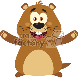10629 Royalty Free RF Clipart Happy Marmot Cartoon Mascot Character With Open Arms Vector Flat Design clipart. Commercial use image # 403444