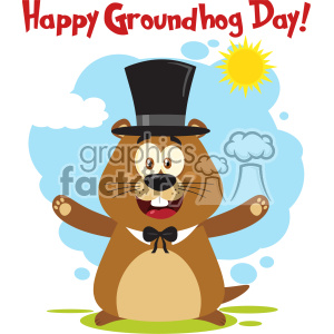 10634 Royalty Free RF Clipart Happy Marmot Cartoon Mascot Character Wearing A Hat And Welcoming With Text And Sunshine Vector Flat Design With Background Isolated On White clipart. Royalty-free image # 403449