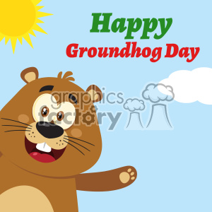 10637 Royalty Free RF Clipart Cute Marmot Cartoon Mascot Character Waving From Corner Vector Flat Design With Background And Text Happy Groundhog Day clipart. Royalty-free image # 403454