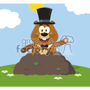 10649 Royalty Free RF Clipart Happy Marmmot Cartoon Mascot Character With Cylinder Hat Waving In Groundhog Day Vector Flat Design With Background clipart. Commercial use image # 403459
