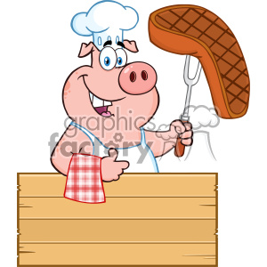 10721 Royalty Free RF Clipart Chef Pig Cartoon Mascot Character Holding A Cooked Steak On A Bbq Fork Over A Wooden Sign Giving A Thumb Up Vector Illustration