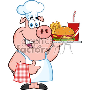 10725 Royalty Free RF Clipart Chef Pig Cartoon Mascot Character Holding A Tray Of Fast Food And Giving A Thumb Up Vector Illustration