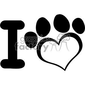 10709 Royalty Free RF Clipart I Love Dog With Black Heart Paw Print Logo Design Vector Illustration clipart. Commercial use image # 403474