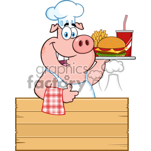 10723 Royalty Free RF Clipart Chef Pig Cartoon Mascot Character Holding A Tray Of Fast Food Over A Wooden Sign Giving A Thumb Up Vector Illustration clipart. Royalty-free image # 403479