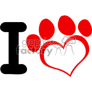 10702 Royalty Free RF Clipart I Love Dog With Red Heart Paw Print Logo Design Vector Illustration