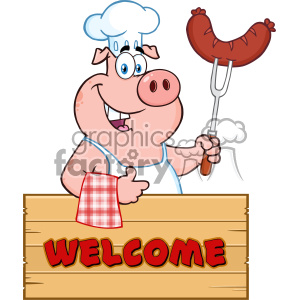 10720 Royalty Free Clipart Chef Pig Cartoon Mascot Character Holding A Sausage On A Bbq Fork Over A Wooden Sign Giving A Thumb Up Vector With Text Welcome clipart. Commercial use image # 403489