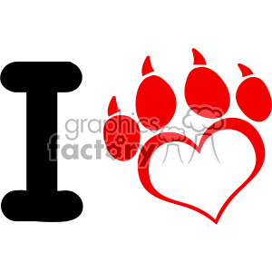 10703 Royalty Free RF Clipart I Love Dog With Red Heart Paw Print With Claws Logo Design Vector Illustration