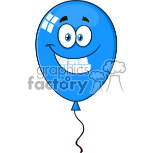 10752 Royalty Free RF Clipart Smiling Blue Balloon Cartoon Mascot Character Vector Illustration clipart. Commercial use image # 403504