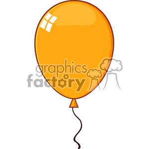 10753 Royalty Free RF Clipart Cartoon Orange Balloon Vector Illustration