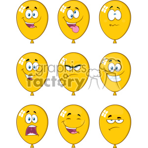 10769 Royalty Free RF Clipart Yellow Balloons Cartoon Mascot Character Expressions Set Vector Illustration clipart. Commercial use image # 403534