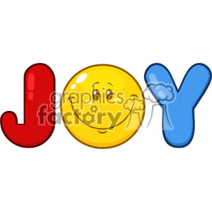 10842 Royalty Free RF Clipart Joy Logo With Smiley Face Cartoon Character Vector Illustration clipart. Royalty-free image # 403539