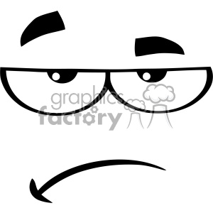 10911 Royalty Free RF Clipart Black And White Grumpy Cartoon Funny Face With Sadness Expression Vector Illustration