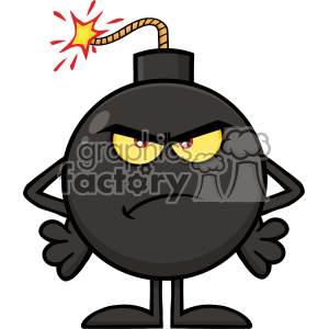 10798 Royalty Free RF Clipart Angry Bomb Cartoon Mascot Character Vector Illustration clipart. Commercial use image # 403559