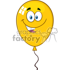 10746 Royalty Free RF Clipart Smiling Yellow Balloon Cartoon Mascot Character Vector Illustration clipart. Commercial use image # 403574