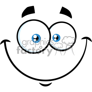 10863 Royalty Free RF Clipart Smiling Cartoon Funny Face With Happy Expression Vector Illustration