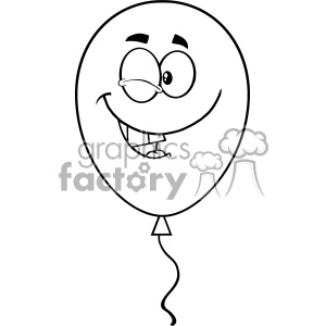 10757 Royalty Free RF Clipart Winking Black And White Balloon Cartoon Mascot Character Vector Illustration clipart. Commercial use image # 403599