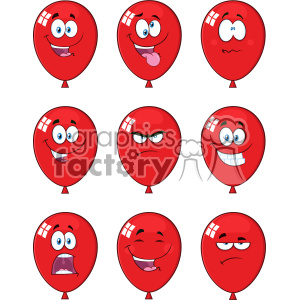 10766 Royalty Free RF Clipart Red Balloons Cartoon Mascot Character Expressions Set Vector Illustration clipart. Royalty-free image # 403604
