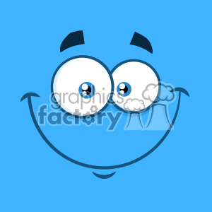 10864 Royalty Free RF Clipart Smiling Cartoon Funny Face With Happy Expression Vector With Blue Background clipart. Royalty-free image # 403700