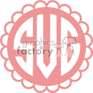 cut+files monogram monogrammed scalloped circle label