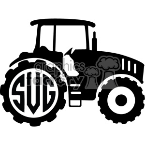 cut+files tractor farm silhouette monogram monogrammed black+white vinyl+ready