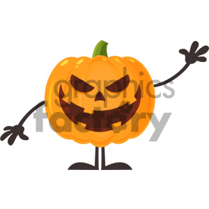 Grinning Evil Halloween Pumpkin Cartoon Emoji Character Waving For Greeting Vector Illustration Flat Design Style Isolated On White Background clipart. Royalty-free image # 403956