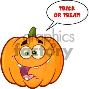 Crazy Orange Pumpkin Vegetables Cartoon Emoji Face Character With Expression With Speech Bubble And Text Trick Or Treat clipart. Commercial use image # 403972