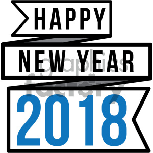 2018 happy new year ribbon blue clipart. Royalty-free image # 404018