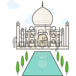 cartoon art taj+mahal building landscape