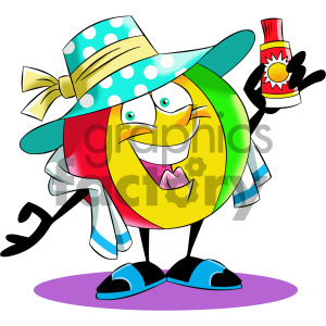 cartoon beach ball character sun tanning clipart. Commercial use image # 404200
