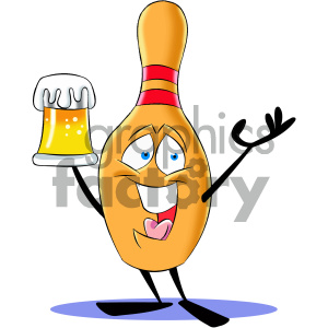cartoon bowling pin mascot character drinking a beer clipart. Royalty-free image # 404201
