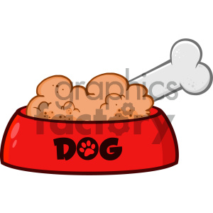 cartoon animals vector dog dogs dog+dish bone red food