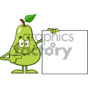 cartoon animals vector holding food fruit pear mascot character green blank+sign