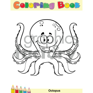 Royalty Free RF Clipart Illustration Coloring Book Page With Happy Octopus Cartoon Mascot Character Vector Illustration Isolated On White Background clipart. Royalty-free image # 404240