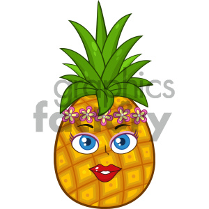 Pineapple Fruit Cartoon Mascot Character Woman Face With Hawaiian Flower Lei Garland Wreath clipart. Royalty-free image # 404279