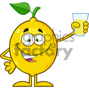 Royalty Free RF Clipart Illustration Yellow Lemon Fresh Fruit With Green Leaf Cartoon Mascot Character Presenting And Holding Up A Glass Of Lemonade Vector Illustration Isolated On White Background clipart. Royalty-free image # 404281