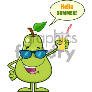 Green Pear Fruit With Sunglasses Cartoon Mascot Character Holding Up A Glass Of Juice With Speech Bubble And Text Hello Summer clipart. Commercial use image # 404286