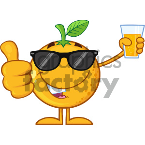 Royalty Free RF Clipart Illustration Orange Fruit Cartoon Mascot Character With Sunglasses Holding Up A Glass Of Juice And Giving A Thumb Up Vector Illustration Isolated On White Background clipart. Royalty-free image # 404289