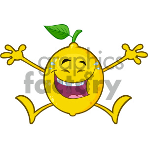 Royalty Free RF Clipart Illustration Laughing Yellow Lemon Fresh Fruit With Green Leaf Cartoon Mascot Character Jumping Vector Illustration Isolated On White Background clipart. Royalty-free image # 404291