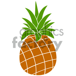 Royalty Free RF Clipart Illustration Pineapple Fruit With Green Leafs Silhouette Simple Flat Design. Vector Illustration Isolated On White Background clipart. Commercial use image # 404293