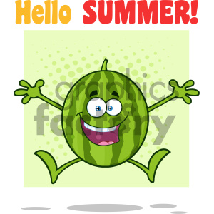 Royalty Free RF Clipart Illustration Happy Green Watermelon Fruit Cartoon Mascot Character Jumping Vector Illustration With Halftone Background And Text Hello Summer clipart. Commercial use image # 404350