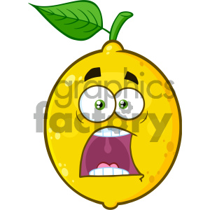 cartoon food mascot character vector happy fruit lemon scared