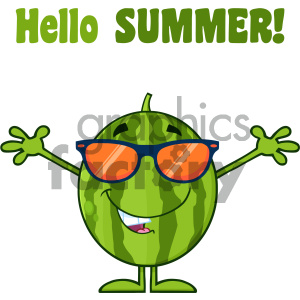 Royalty Free RF Clipart Illustration Smiling Green Watermelon Fresh Fruit Cartoon Mascot Character With Sunglasses And Open Arms Vector Illustration Isolated On White Background With Text Hello Summer clipart. Commercial use image # 404370