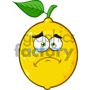 Royalty Free RF Clipart Illustration Crying Yellow Lemon Fruit Cartoon Emoji Face Character With Tears Vector Illustration Isolated On White Background clipart. Royalty-free image # 404379