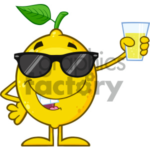Royalty Free RF Clipart Illustration Yellow Lemon Fresh Fruit With Green Leaf Cartoon Mascot Character With Sunglasses Presenting And Holding Up A Glass Of Lemonade Vector clipart. Commercial use image # 404397