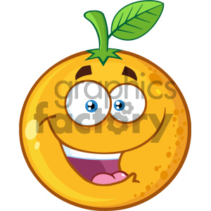 Royalty Free RF Clipart Illustration Happy Orange Fruit Cartoon Mascot Character Vector Illustration Isolated On White Background clipart. Royalty-free image # 404411