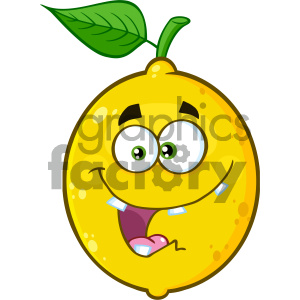 Royalty Free RF Clipart Illustration Crazy Yellow Lemon Fruit Cartoon Emoji Face Character With Expression Vector Illustration Isolated On White Background clipart. Commercial use image # 404443