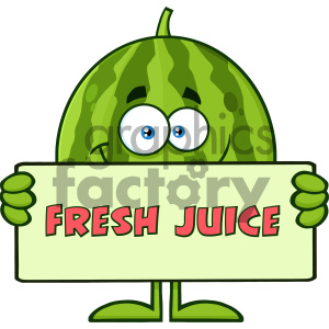 Royalty Free RF Clipart Illustration Smiling Green Watermelon Fruit Cartoon Mascot Character Holding A Banner With Text Fresh Juice Vector Illustration Isolated On White Background clipart. Royalty-free image # 404444