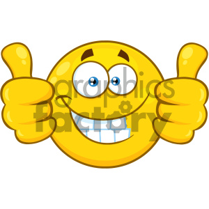 Royalty Free RF Clipart Illustration Smiling Yellow Cartoon Smiley Face Character Giving Two Thumbs Up Vector Illustration Isolated On White Background clipart. Commercial use image # 404475